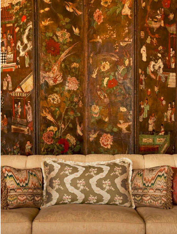 Spanish chinoiserie leather screen - living room - Suzanne Tucker