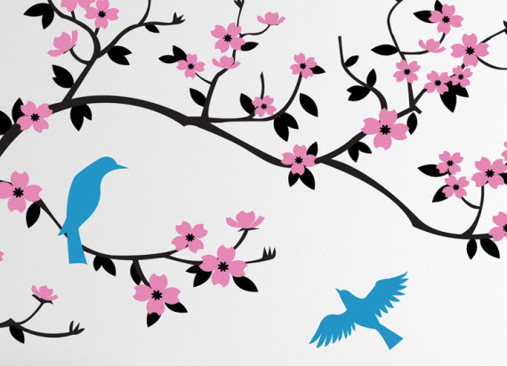 cherry blossom tree wall decal & Cherry Walls Giveaway