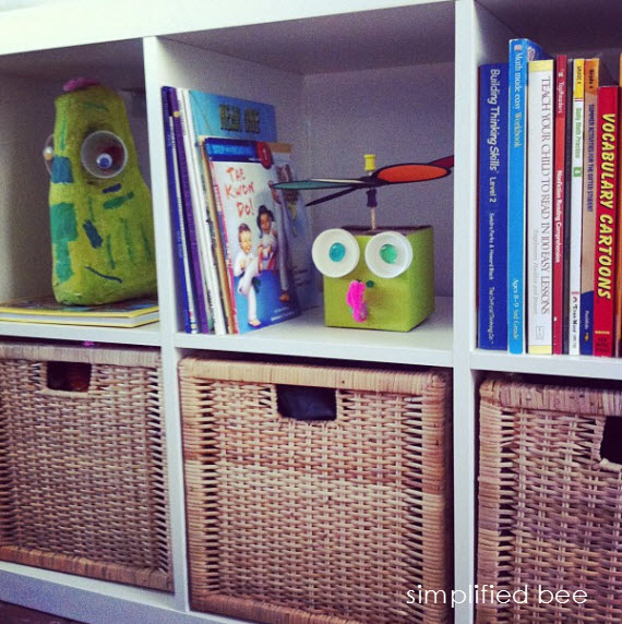 kids playroom with Ikea shelving - Simplified Bee