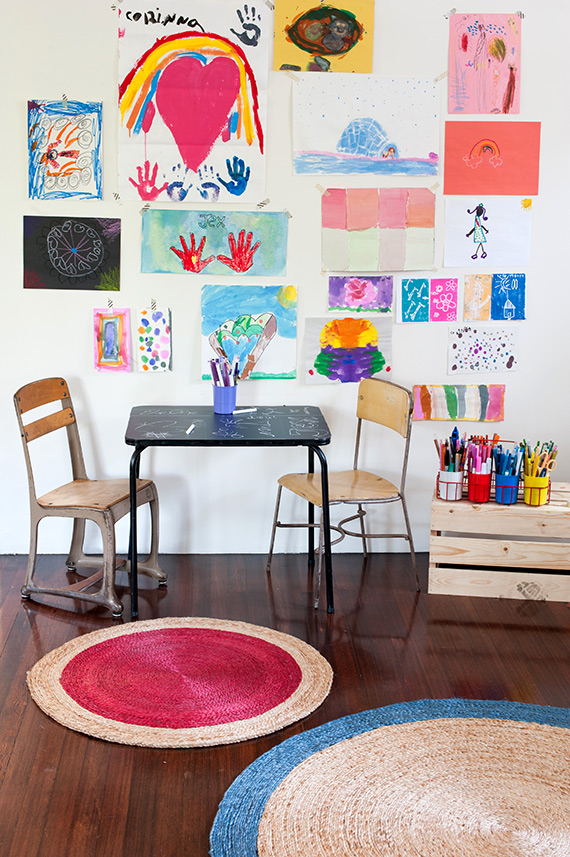 kids' playroom with art wall
