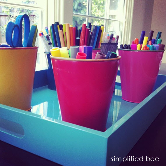 organized craft supplies on a tray - Simplified Bee