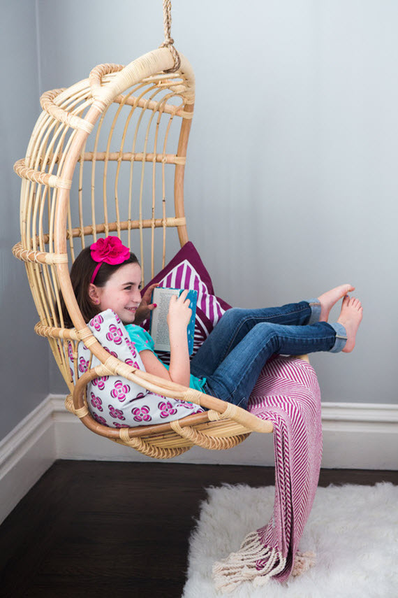rattan hanging chair - girls bedroom