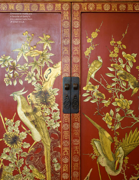 red chinoiserie decorative cabinet