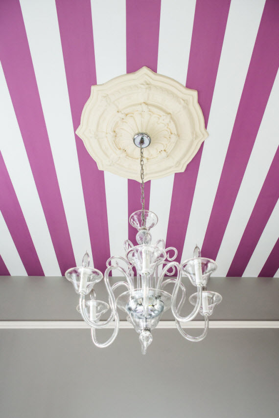 striped ceiling wallpaper in girls bedroom