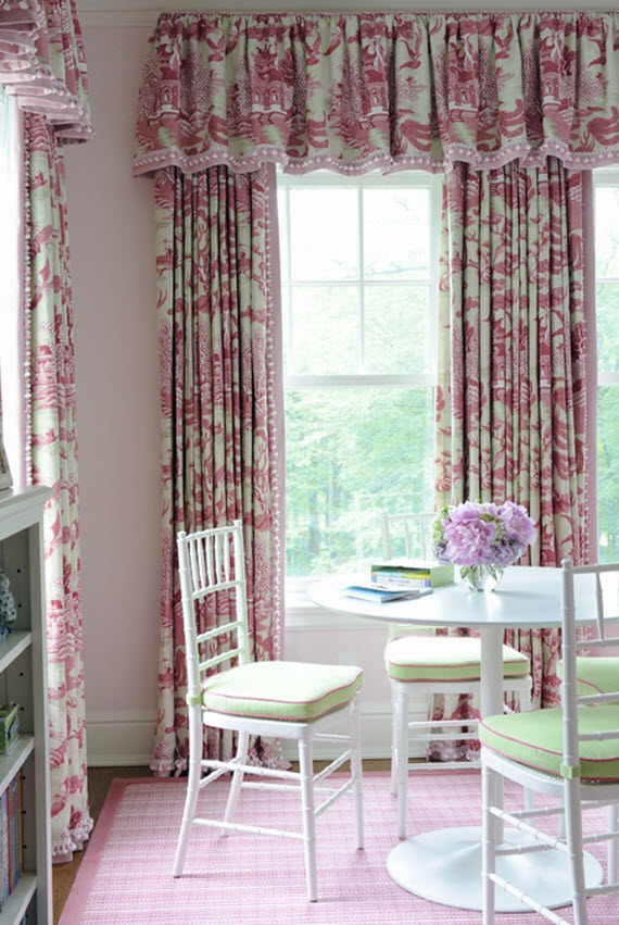 toile window treatment - girl's bedroom - Kerry Hanson Design