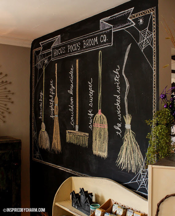 witches broom shop chalkboard halloween ideas - Halloween Decorations Witches