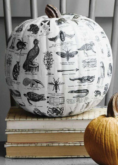 decoupage pumpkin for Halloween