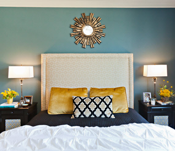 turquoise and gold bedroom design