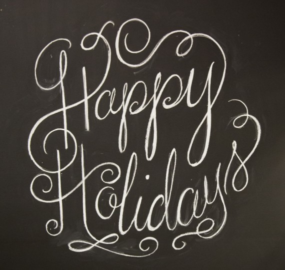 Happy Holidays - chalkboard sign
