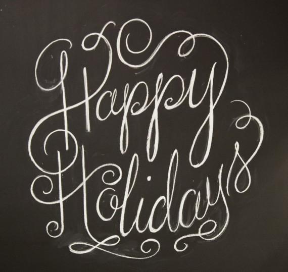 Happy Holidays - chalkboard sign