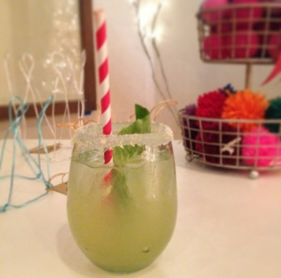 Holiday cocktail with red straw