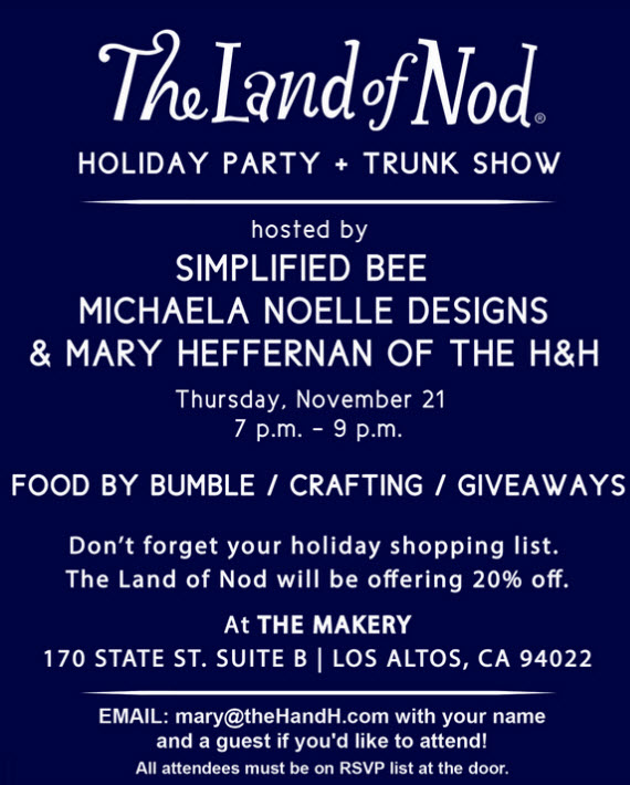 Land of Nod Holiday Party San Francisco Invite #nodevents