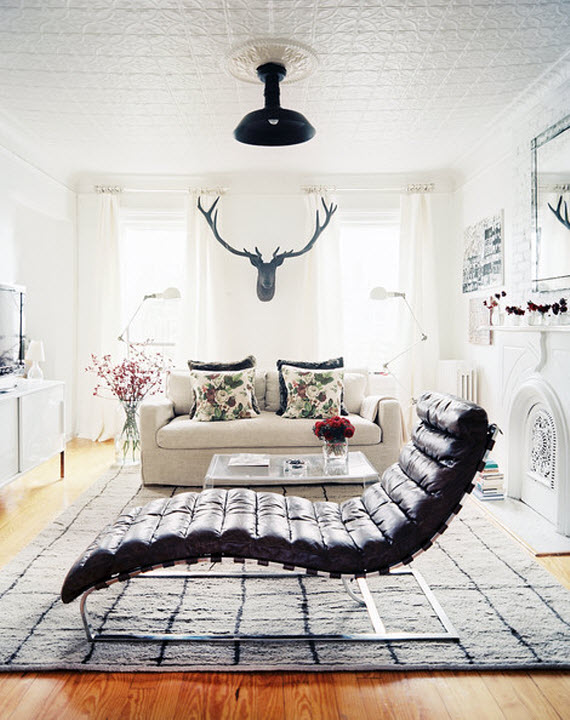 Black And White Living Room With Black Leather Chaise // Lonny