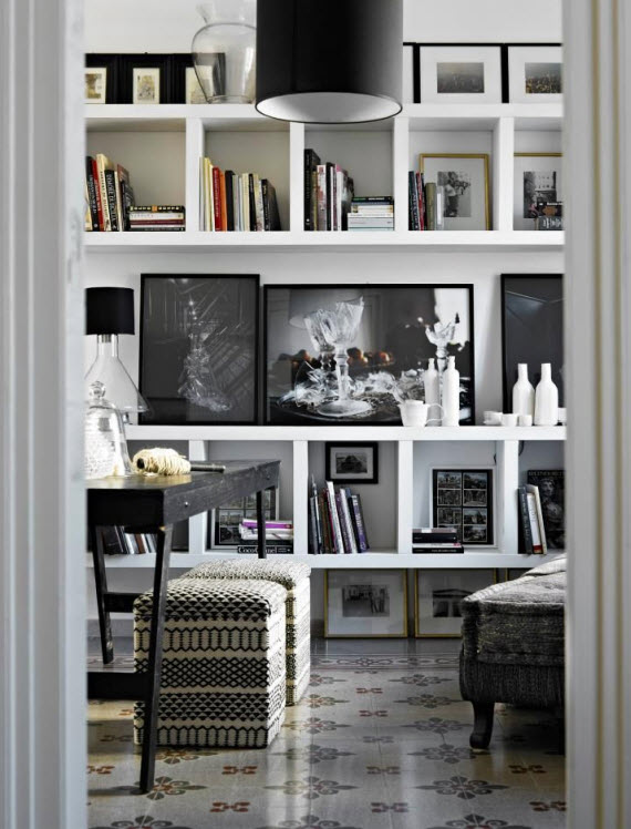 Black And White Bookcase : Friday finds black and white interior design