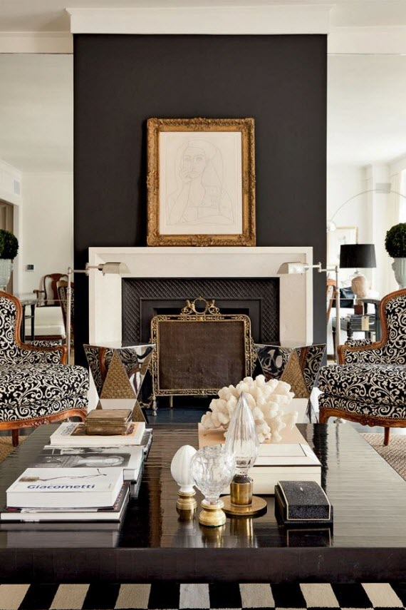 Friday finds black and white interior design - Black and white living room chairs ...