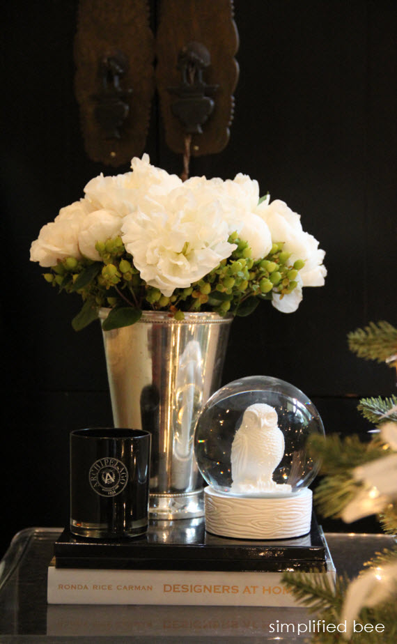 holiday floral arrangement with white peonies // Simplified Bee