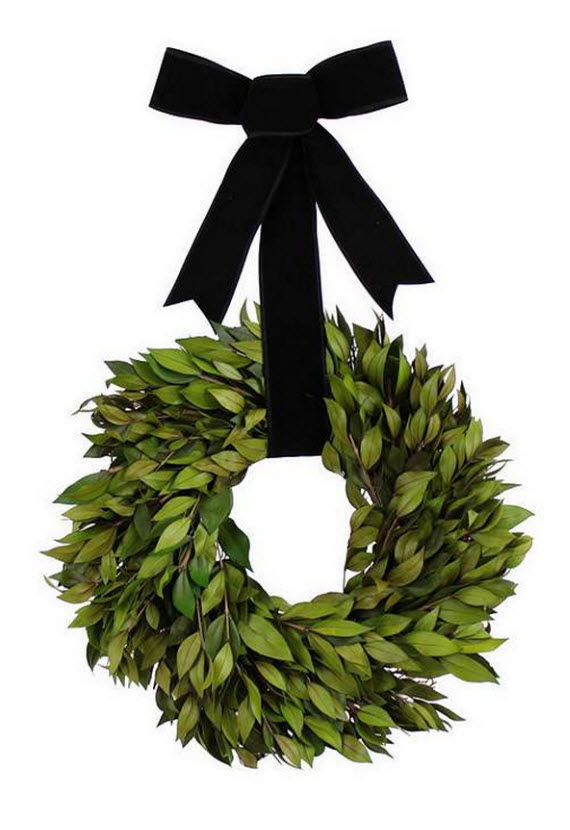 myrtle wreath with black velvet bow
