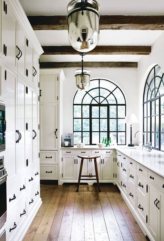 white kitchen cabinets with black hardware