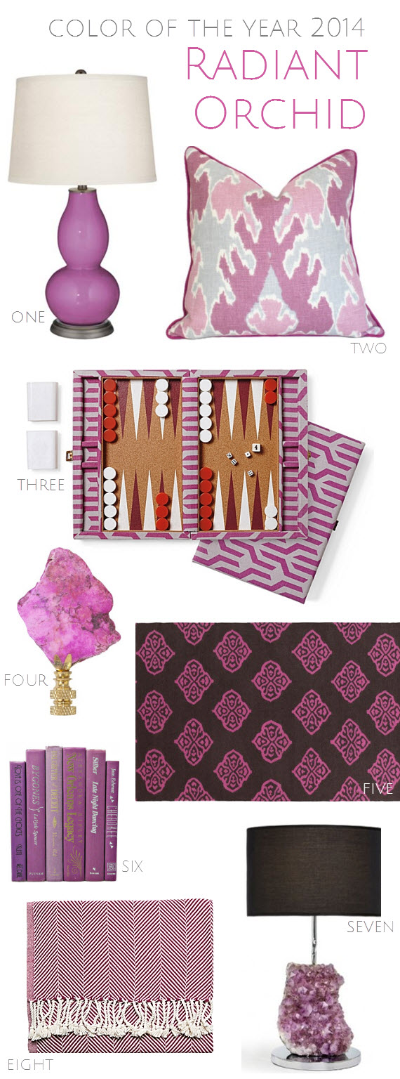 Radiant Orchid in Home Decor - 2014 Color of the Year