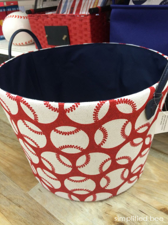 red & white baseball storage bin #baseball