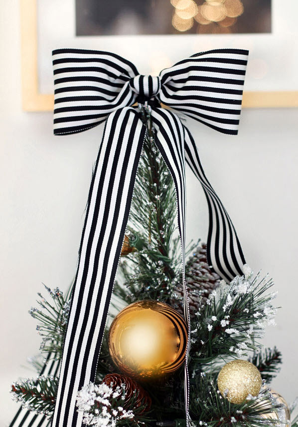 black and white ribbon for Christmas tree