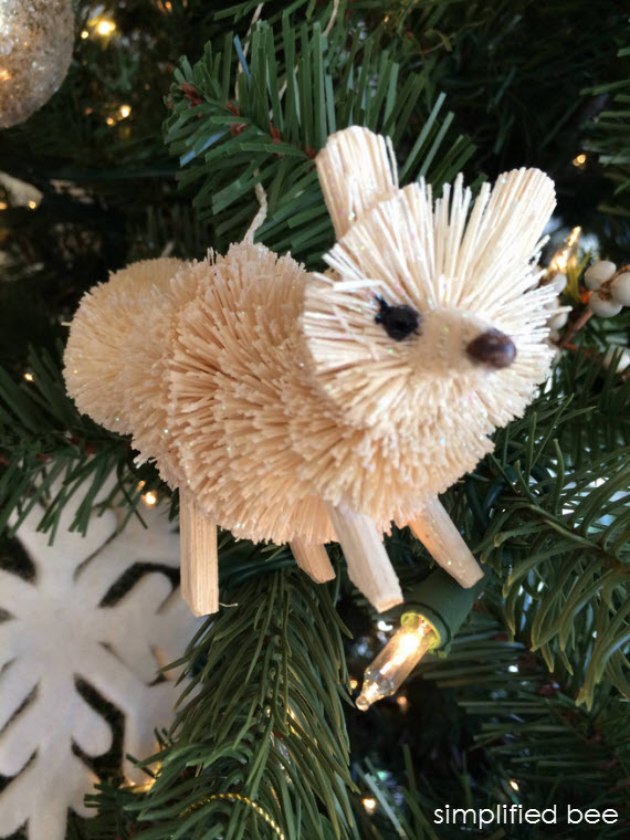 bottle brush fox ornament - christmas tree