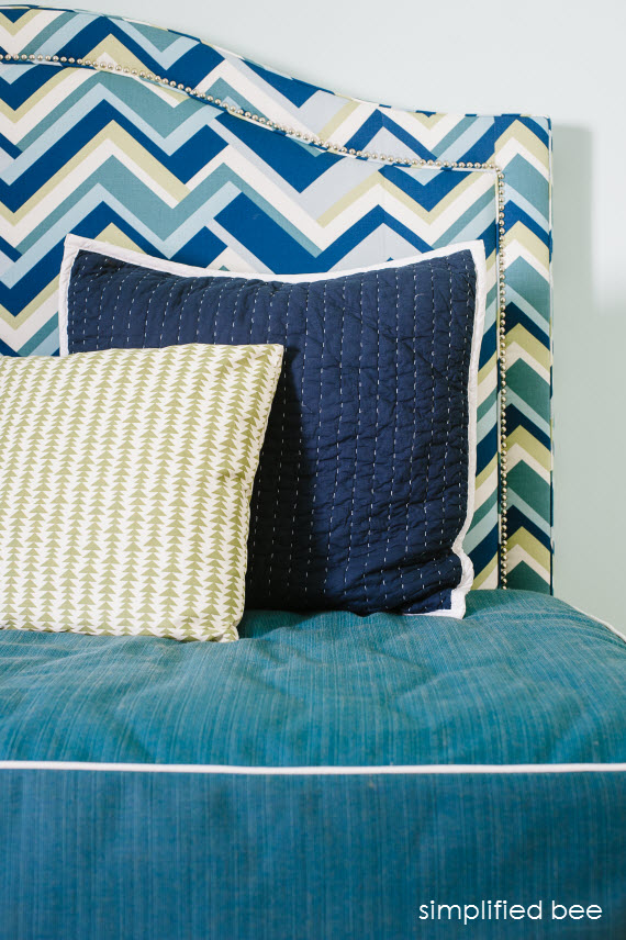 daybed headboard in blue and green // simplified bee