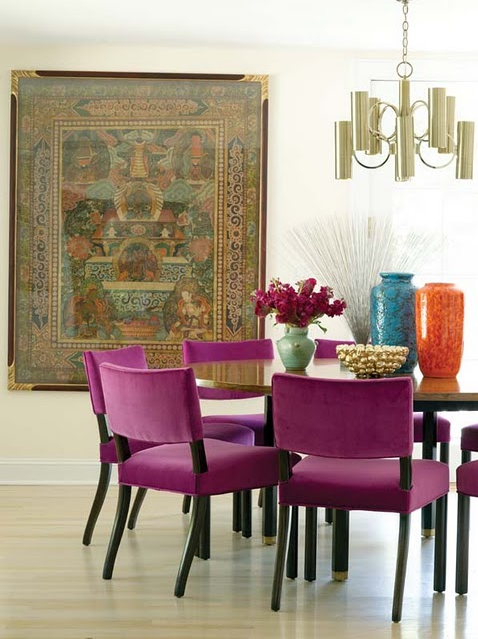 dining room with radiant orchid chairs