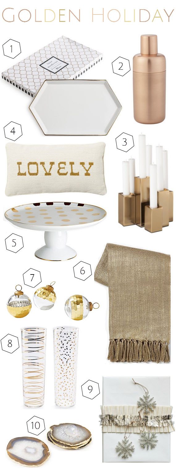 gold holiday decorations and gifts // Simplified Bee