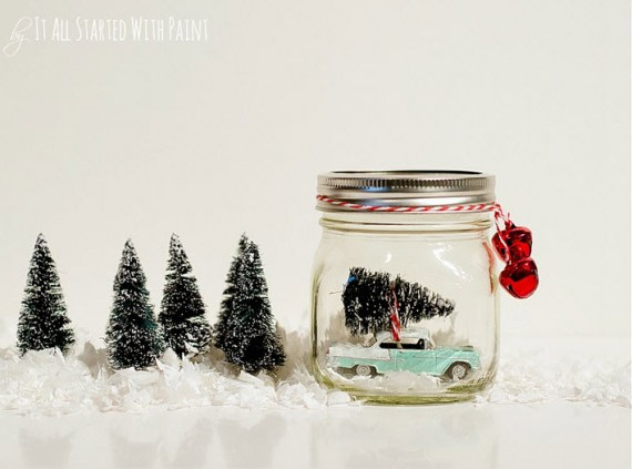 DIY snow globe with vintage feel