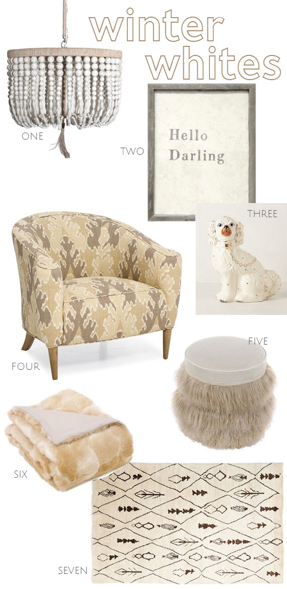 winter whites // home decor in white and neutrals