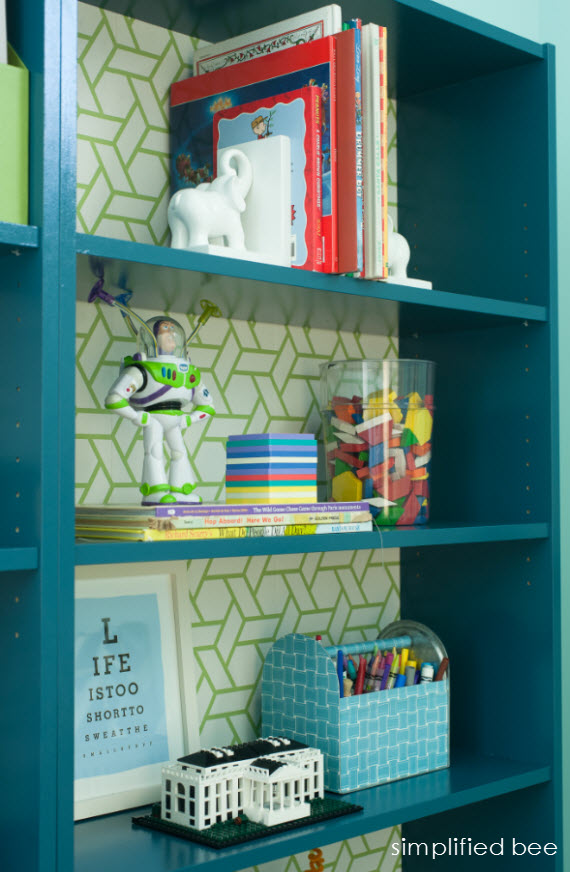 ikea billy bookcase hack with wallpaper // simplified bee