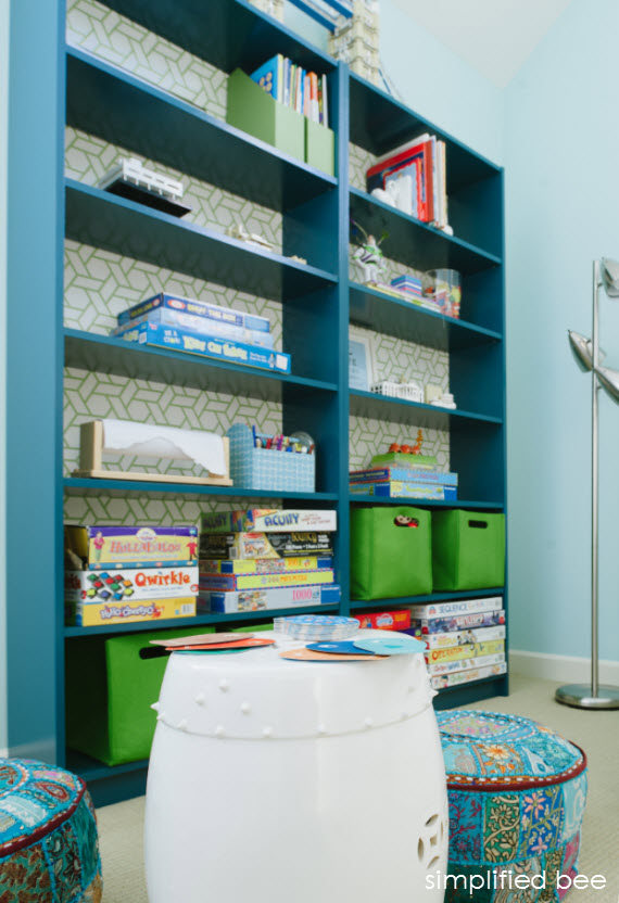 ikea billy bookcase in playroom // cristin priest // simplified bee