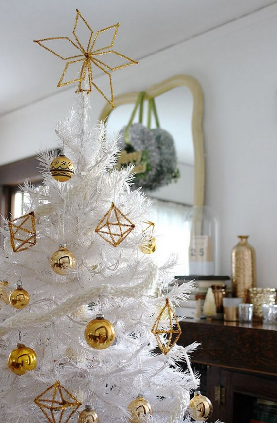 white christmas tree with gold himmeli ornaments - Christmas Tree White