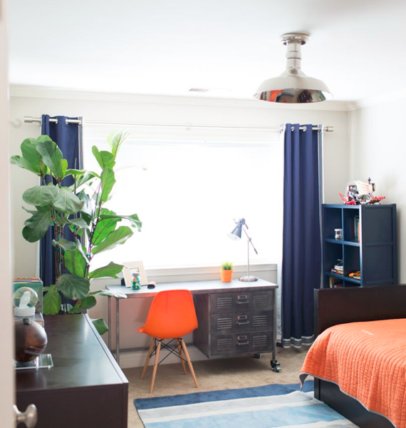 blue and orange boys bedroom - cristin priest of simplified bee