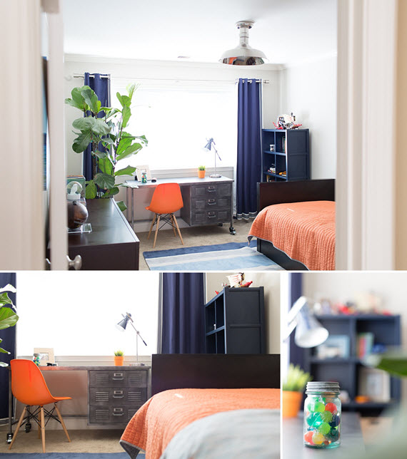 blue and orange boys bedroom - simplified bee