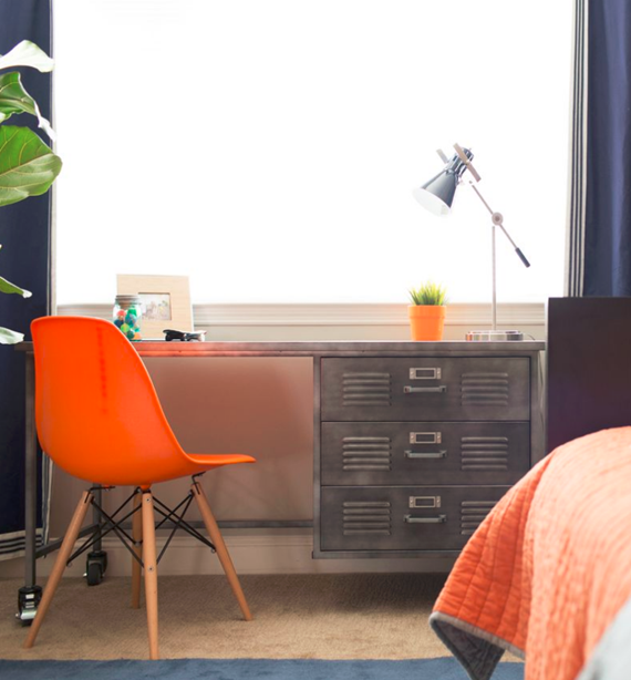 boys industrial style desk and orange chair - bedroom - simplified bee