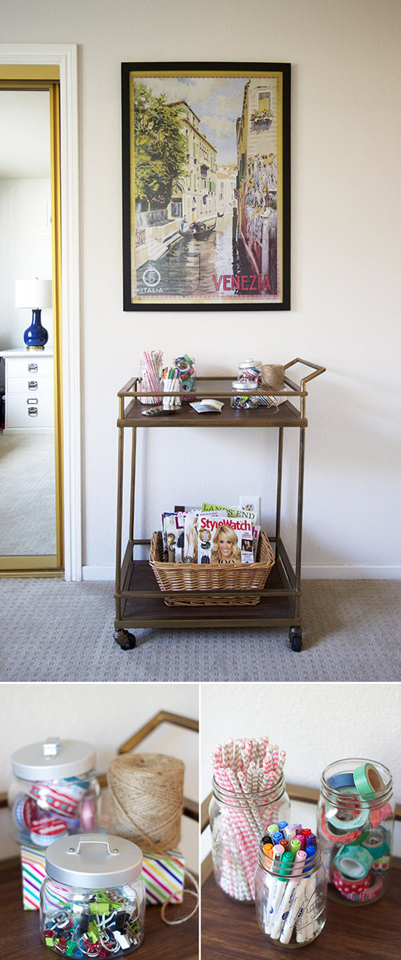 craft cart // preppy home office