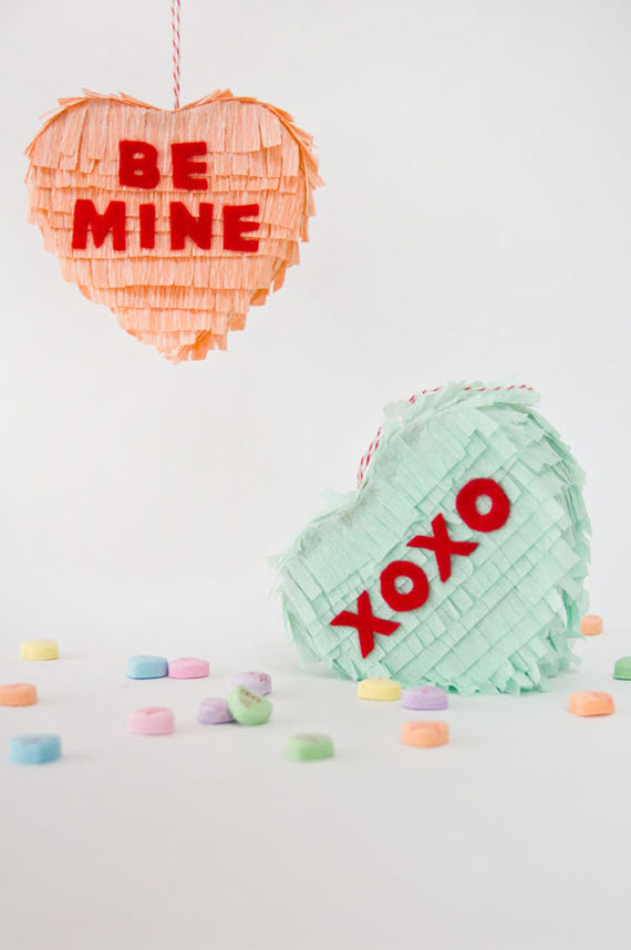 DIY conversation heart pinatas // Valentine's Day