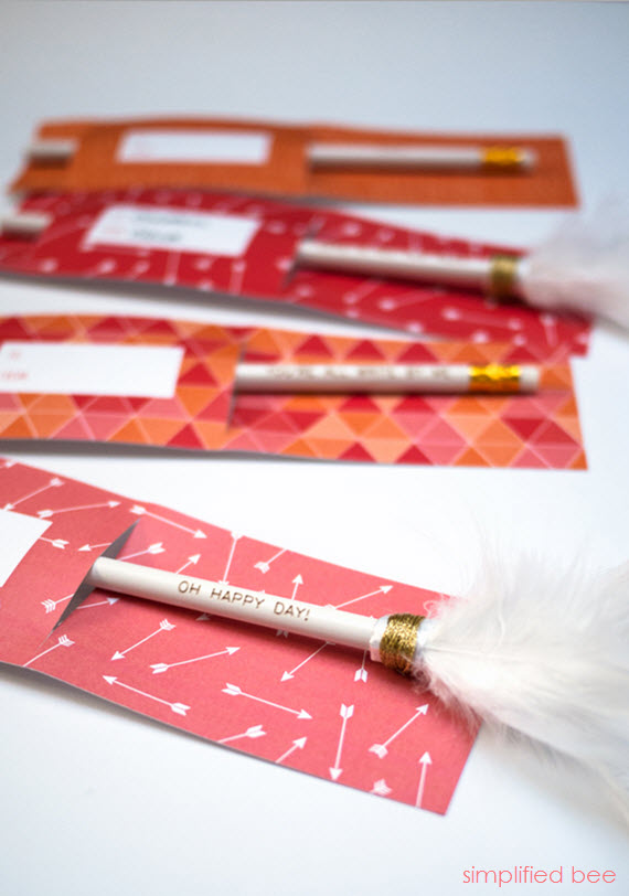 free valentine printable - pencil holder - simplified bee