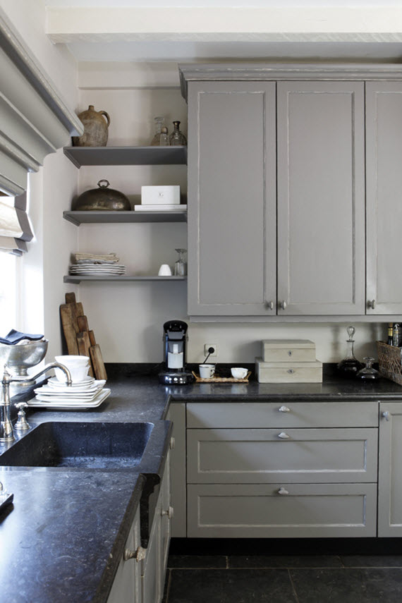 gray kitchen with open shelving