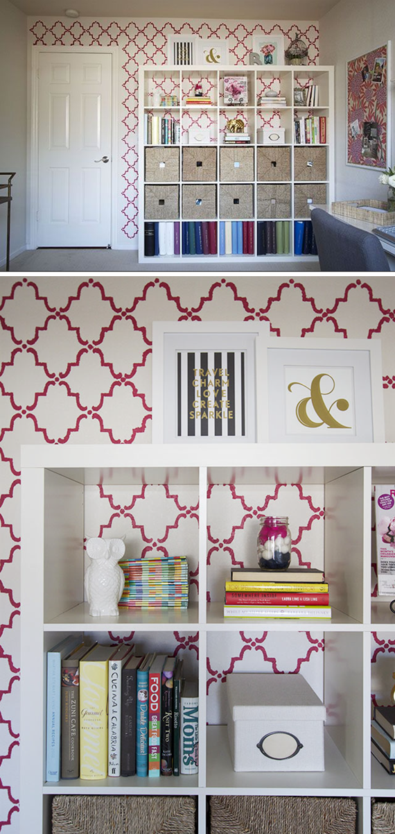 preppy home office // ikea shelving and stencil wall