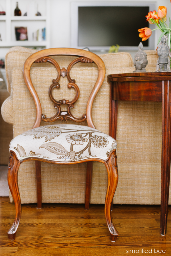 rococo-style antique chair in schumacher fabric - simplified bee