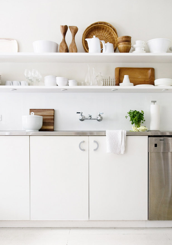 all white kitchen with open shelves