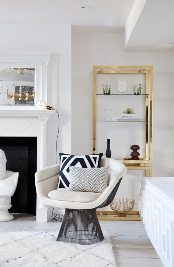 chic brass etagere - family room
