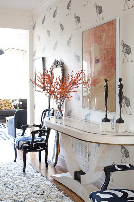 chic foyer with ostrich wallpaper