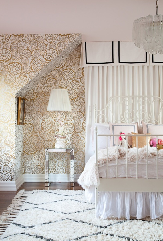 girls bedroom with petal pusher wallpaper