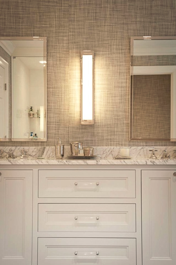bathroom vanity with lucite pulls
