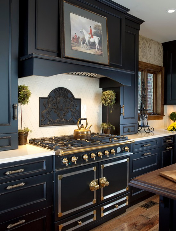black kitchen cabinets by Wood-Mode