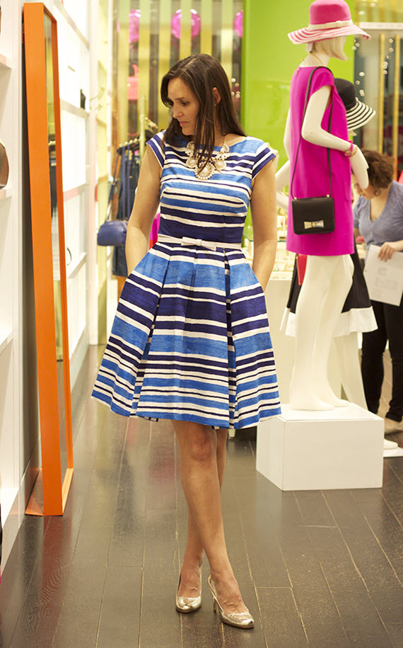 blue and white striped dress // Kate Spade